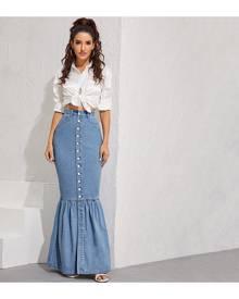 SHEIN Button-Up Denim Mermaid Maxi Skirt