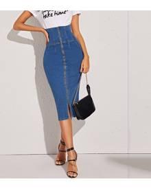 SHEIN Zip Up High Waist Denim Pencil Skirt