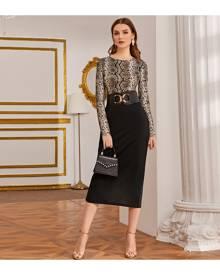 SHEIN Snakeskin Print Top & Split Back Pencil Skirt Set Without Belt