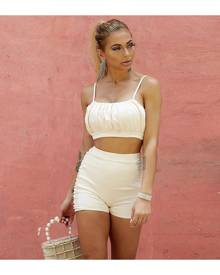 SHEIN Ruched Bust Top & Skinny Shorts Set
