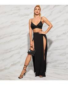 SHEIN Solid Bralet Top and High Split Front Skirt Set