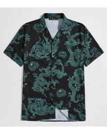 SHEIN Men Dragon Print Button-Front Shirt