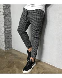 SHEIN Men Drawstring Waist Plaid Trousers
