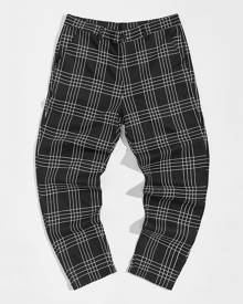 SHEIN Men Plaid Button Detail Trousers