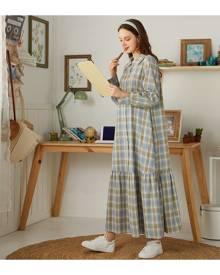 SHEIN Tartan Print Button Front Ruffle Hem Smock Dress