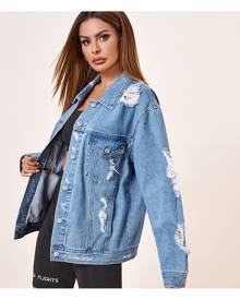 SHEIN Button Front Ripped Denim Jacket