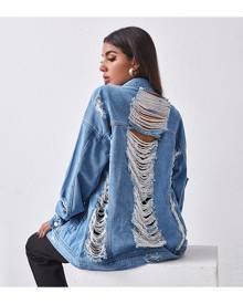 SHEIN Ripped Detail Drop Shoulder Denim Jacket