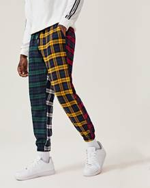 SHEIN Men Plaid Colour Block Drawstring Trousers