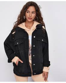 SHEIN Drop Shoulder Ripped Oversized Denim Jacket