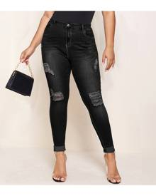 SHEIN Plus Ripped Skinny Jeans