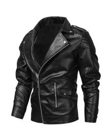 SHEIN Men PU Lapel Neck Zip-up Biker Jacket