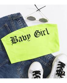 SHEIN Neon Green Letter Graphic Crop Tube Top