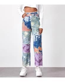 SHEIN Tie Dye Spliced Raw Hem Straight Leg Jeans