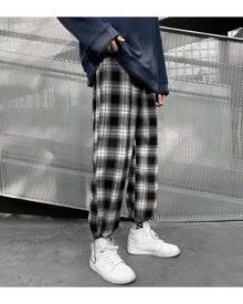 SHEIN Plaid Drawstring Cuff Trousers
