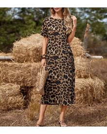 SHEIN Leopard Print Dual Pocket Tunic Dress