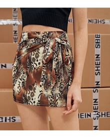 SHEIN Mixed Print Knot Front Skirt