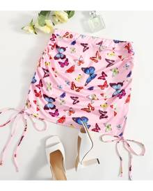 SHEIN Plus Allover Butterfly Knot Side Mini Skirt