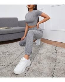 SHEIN Rib-knit Crop Top & Trousers Set