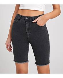 SHEIN Slant Pocket Roll Hem Denim Shorts
