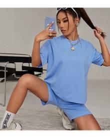 SHEIN Drop Shoulder Tee & Elastic Waist Shorts Set