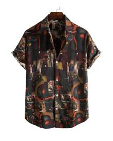SHEIN Men All Over Print Button Front Shirt