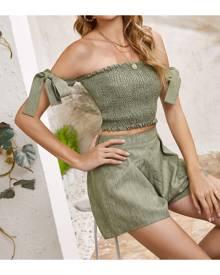 SHEIN Knot Side Shirred Crop Top & Shorts Set