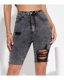 SHEIN Raw Hem Ripped Denim Shorts