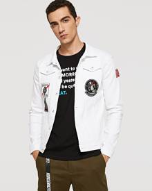 SHEIN Men Embroidery Patched Denim Jacket