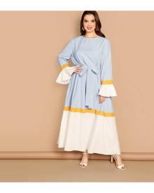 SHEIN Plus Colourblock Flounce Sleeve Belted Dress
