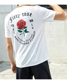 SHEIN Men Letter & Rose Print Tee