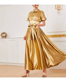 SHEIN Self Belted Empire Waist Satin Dress
