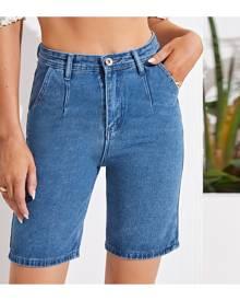 SHEIN Solid Slant Pocket Denim Shorts