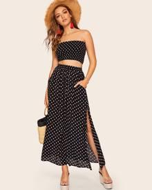 SHEIN Polka Dot Shirred Bandeau Top & Maxi Skirt Co-ord