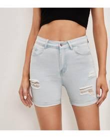 SHEIN Ripped Roll Hem Skinny Denim Shorts