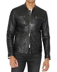 John Varvatos Star Usa Leather Band Collar Moto Jacket