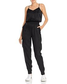 Cinq a Sept Amia Satin V-Neck Jumpsuit