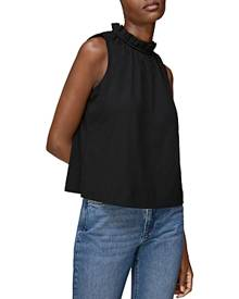 Whistles Ruched Neck Sleeveless Top