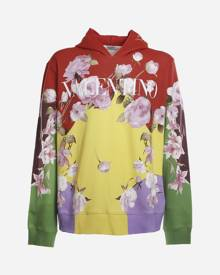 Valentino Cotton Blend Sweatshirt With All-over Flying Flowers Print