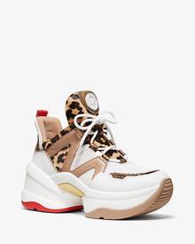 irving mesh and cheetah calf hair stripe sneaker