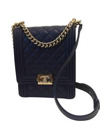 Chanel Boy Blue Leather Handbag for Women