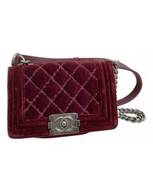 Chanel Boy Burgundy Velvet Handbag for Women