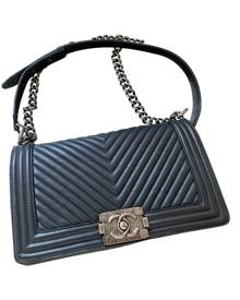 Chanel Boy Anthracite Leather Handbag for Women