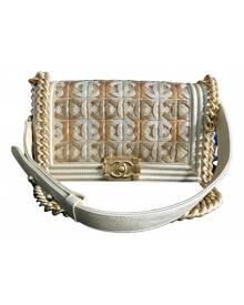 Chanel Boy Gold Leather Handbag for Women