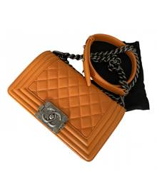 Chanel Boy Orange Leather Handbag for Women