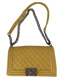 Chanel Boy Yellow Leather Handbag for Women