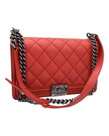 Chanel Boy Red Leather Handbag for Women