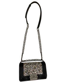 Chanel Boy Black Glitter Handbag for Women