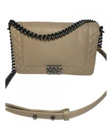 Chanel Boy Beige Leather Handbag for Women