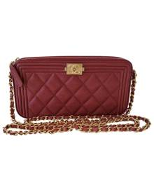 Chanel Boy Burgundy Leather Handbag for Women