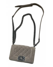 Chanel Boy Beige Velvet Handbag for Women